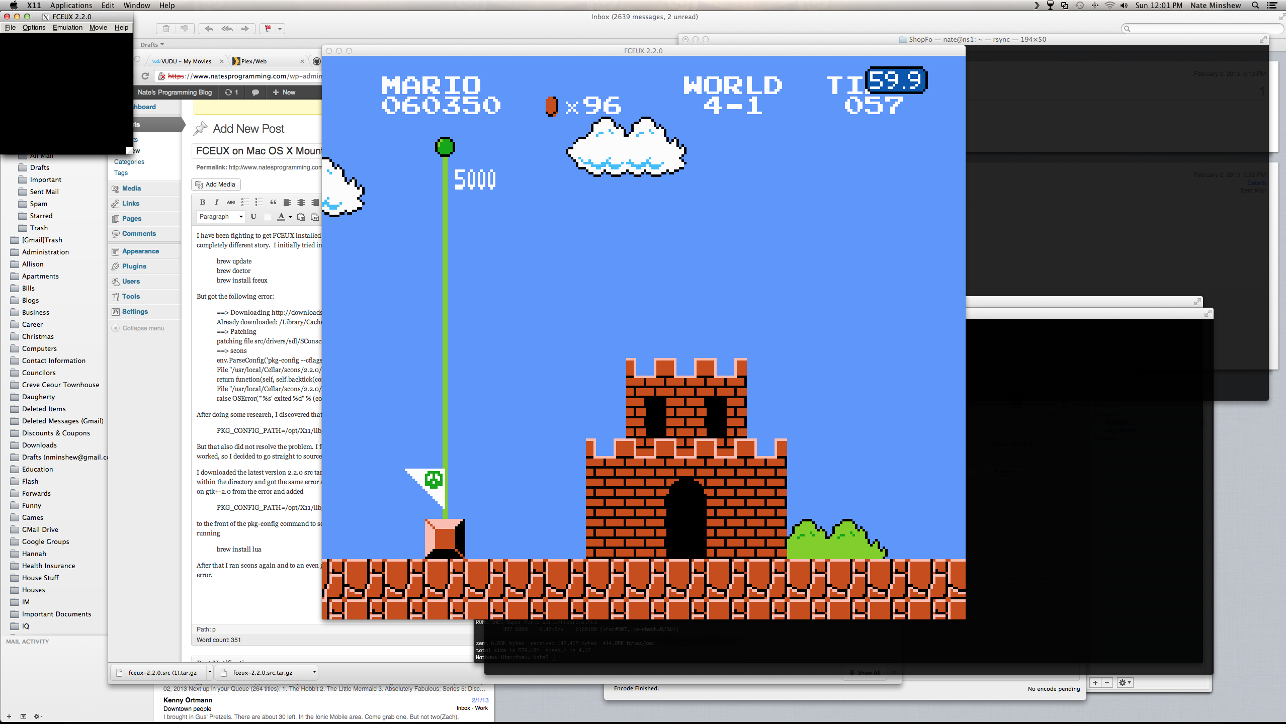 FCEUX running Super Mario Bros on Mac OS X Mountain Lion